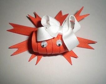 Crab Clip, Orange Crab Hair Bow - Happy Miss CRAB Hair Clip
