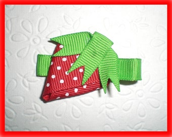 Red STRAWBERRY Hair Bow, Strawberry Clip - PERFECT for SUMMER Outfits