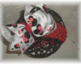 Headband Set, Baby Crochet Headband - Minnie Inspired Hair Bow and Baby Headband SET - You Choose Headband Color