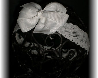 Baby White Lace Headband, Delicate Lace Baby Headband and White Hair Bow SET - Perfect Match for the Affordable Gown