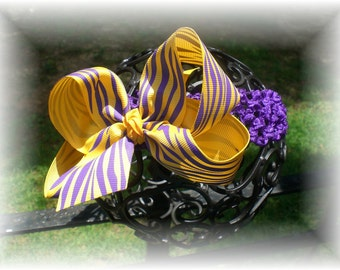 LSU Tigers Inspired Hair Bow and Headband SET - Gold with Purple Tiger Stripes - Perfect for Game Day