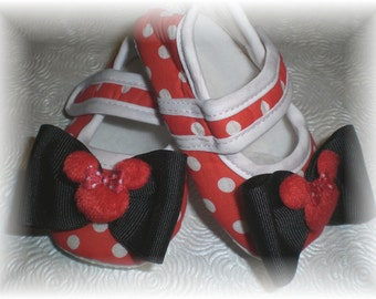 Baby Girl Shoes, RED Polka Dot Minnie Inspired Mary Jane Baby Crib Shoes with Bow Accent...You Choose from 3 Sizes...0-12 Months