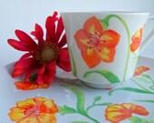 Vintage  Orange Floral Snack Sets