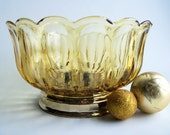 Vintage Amber Footed Scalloped Bowl