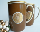 Vintage 1970s Fitz & Floyd Brown and Gold Mugs