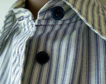 Vintage Blue and White Striped Shirt