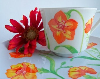 Vintage  Orange Floral Snack Sets