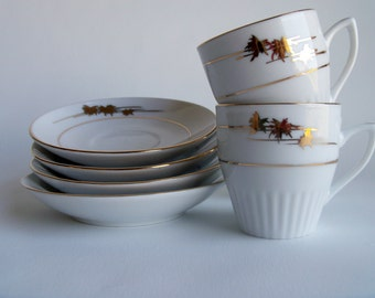 Vintage  Gold Trimmed Espresso 8 Piece Set