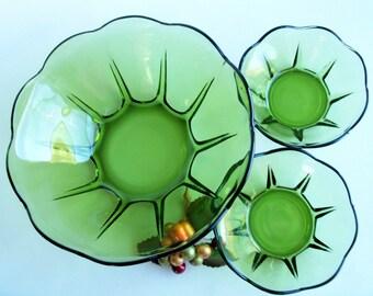 Retro Green Glass 3 Piece Serving Set