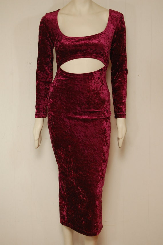 90s Vintage Red Crushed Velvet Cut Out Maxi Dress