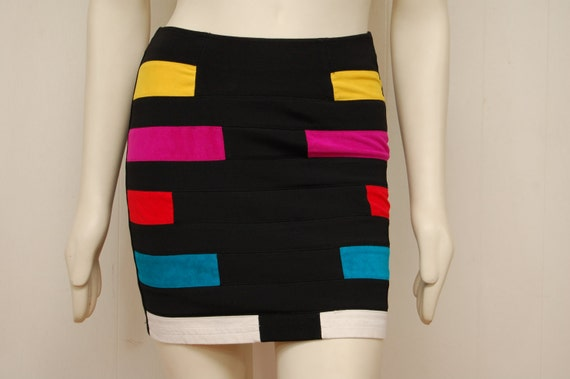 Vintage Black Mini Skirt with Suede Multicolor Stripes-Size Medium