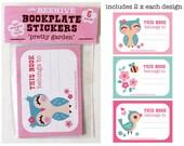 Bookplate Stickers 6 Pack - 'Pretty Garden'