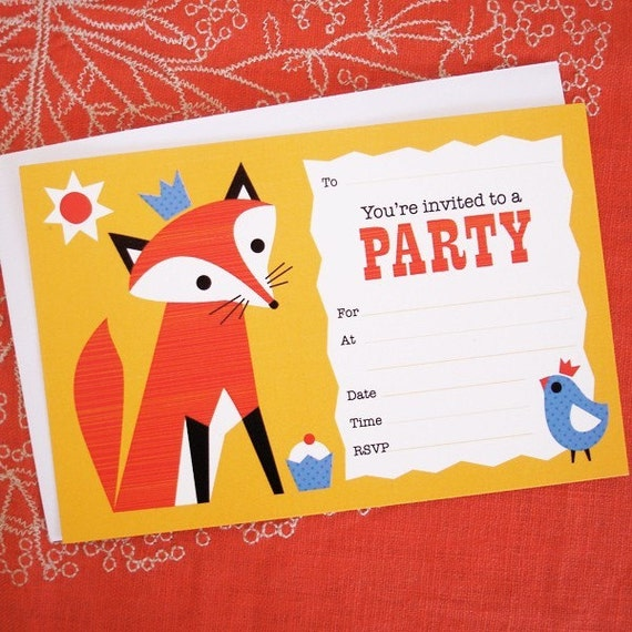 Mister Fox Party invitations 8pk