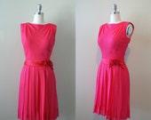 Vintage 1960s Dress -- Fuschia Chiffon Mod Flapperesque Dress -- Small