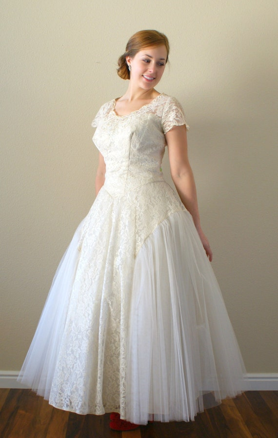 1950s Wedding Dress Vintage 1950s Tea Length Lace And Tulle
