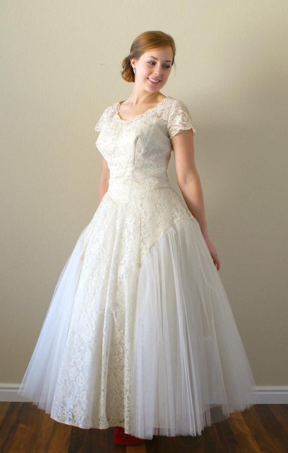 1950s wedding dress vintage 1950s tea length lace and tulle for 1950s tea length wedding dress