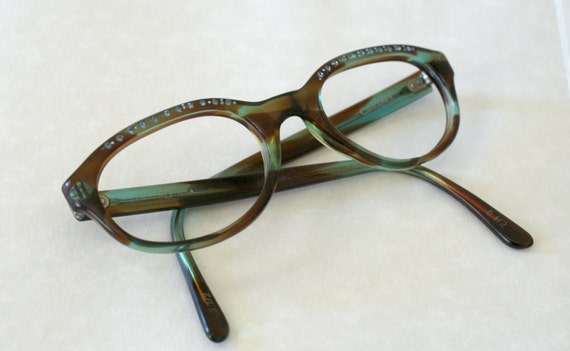 VIntage 1960s Eye Glass Frames -- Green Brown Rhinestone Tortoise Frame --