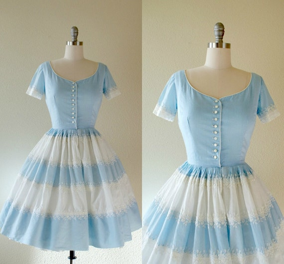 Vintage 1950s Dress -- Blue and White Cotton Organdy -- Falling in Love