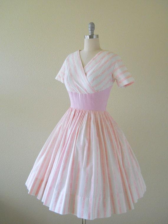 RESERVED LISTING   1950s Dress -- Spring Fever-- Vintage 1950s White Pink Floral Stripe Cotton Dress