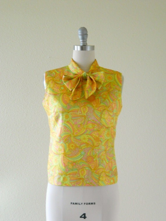 Vintage 1960s Blouse -- Bright Sherbet Swirl -- Mod Bow Neck Blouse