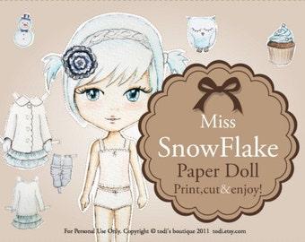 Miss Snowflake-INSTANT DOWNLOAD Printable Paper Doll&envelope
