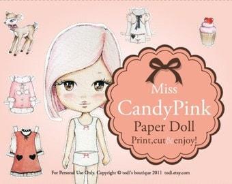 Paper Doll & envelope - INSTANT DOWNLOAD Miss Candy Pink - Printable PDF file