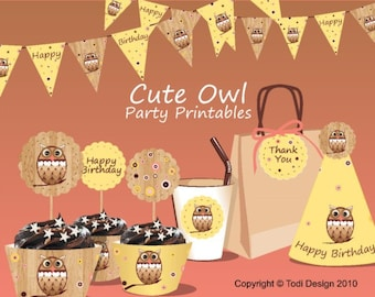 Owl Birthday Party Printables - INSTANT DOWNLOAD Cute Owl, Autumn theme