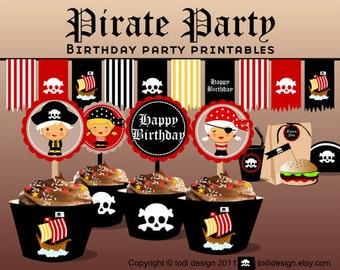 Birthday party Printables -Pirate theme - Printbale PDF PERSONALIZED