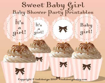 Baby Shower Party Printables - INSTANT DOWNLOAD Sweet Girl Cupcake Toppers and Wrappers