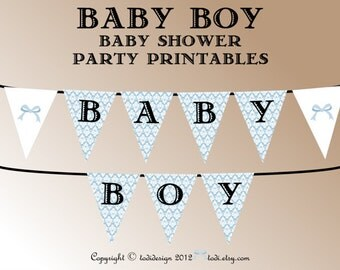 Baby Shower Party Printables INSTANT DOWNLOAD- Damask Baby Boy