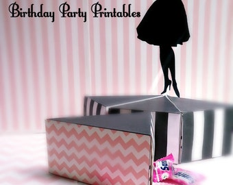 Cake Favor Box PrintableTemplate INSTANT DOWNLOAD  -Fashion Doll Party Printables - Birthday party, Bridal Shower