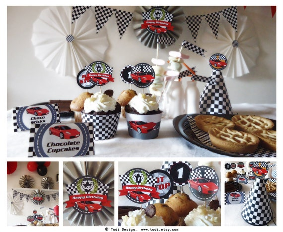 Race Car Birthday Party: Race Car Birthday Party Printables INSTANT DOWNLOAD
