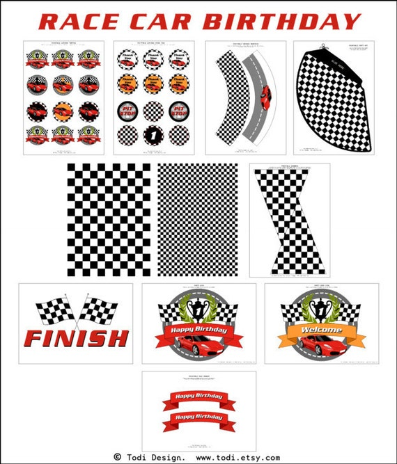 Race Car Birthday Party Printables Personalized By
