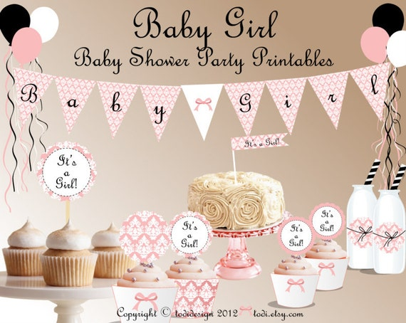 baby girl instant download pink damask baby shower party printables
