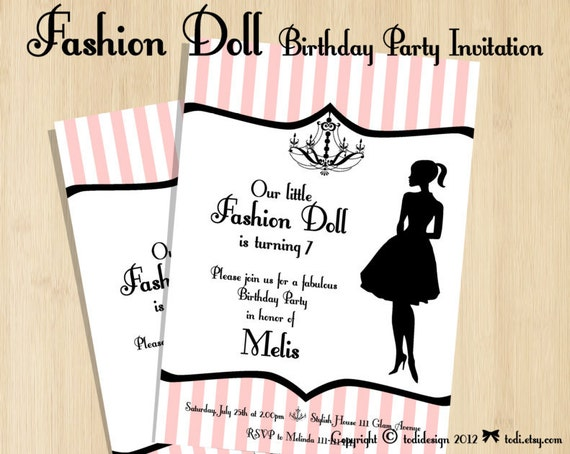 Birthday party Invitations - Fashion Doll Party - Printable digital file