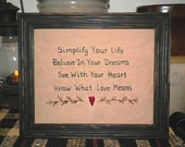 UNFRAMED Primitive Sampler Stitchery Decor Prim Stitched Picture Simplify Believe Dream Love Old Saying Country Decoration Gift wvluckygirl