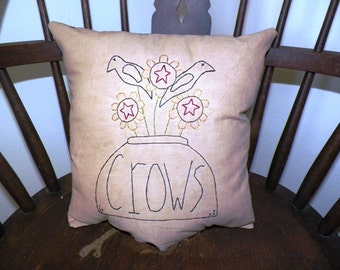 UNSTUFFED Primitive Pillow Cover Fall Autumn Harvest Crow Sunflower Country Rustic Home Decor Stitchery Embroidered Stitched wvluckygirl