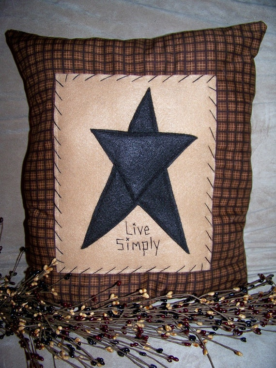 Primitive Barn Star Throw Pillow Or Picture Prim Stitchery