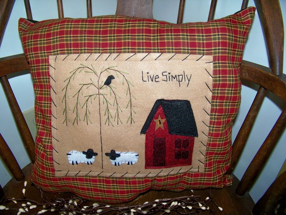 Items Similar To Prim Pillow Saltbox House Decor Sheep