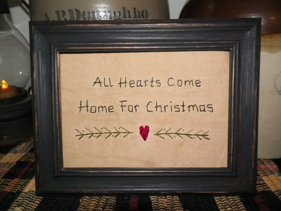 UNFRAMED All Hearts Come Home For Christmas Primitive Stitchery Picture Wall Decor Stitched Country Rustic Holiday Decoration wvluckygirl