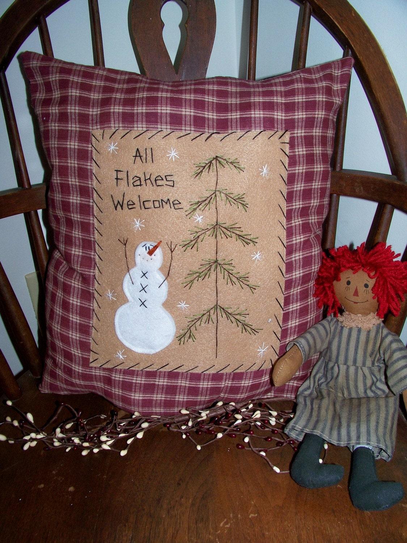 Primitive Stitchery Snowman Pillow Country Decor Rustic Accent