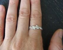 Intertwined Wild Blueberry Branch Wedding Ring