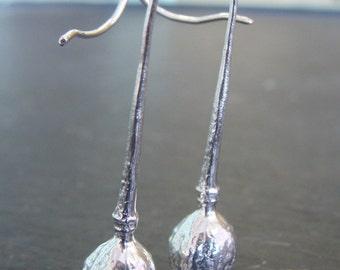 Poppy Pod Drop Earrings -- Botanical Jewelry -- Nature Cast -- Ready to Ship