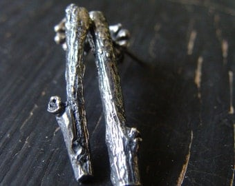 Little Branch Posts -- Branches Earrings -- Nature Organic Jewelry -- Ready to Ship