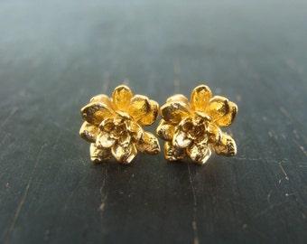 18K Gold Vermeil Miniature Flower Rosette Posts -- Botanical Jewelry -- Nature Cast