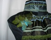 Bohemian chic Bellydance costume in olive and baby blue.