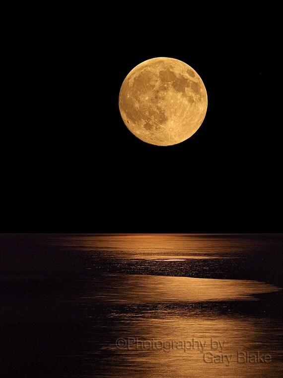 Summer Moon rising, full moon, 8x10 unframed print