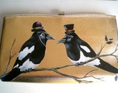 Custom Bird Purse black clutch, vintage black magpie clutch,black brown, woodland wedding, gifts for her under 75 under 100