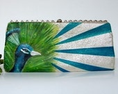 Hand Painted Vintage Clutch- Peacocks in Blue, Teal and Green