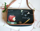 Hand Painted Vintage Purse- I Heart Nerds
